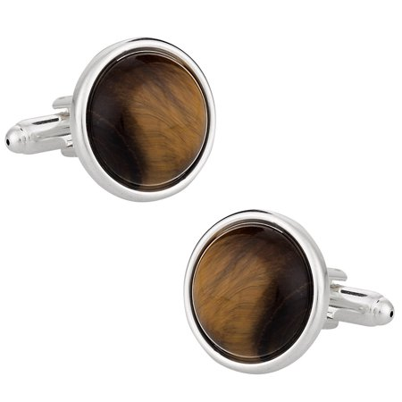 Domed Tiger Eye Cufflinks with Sterling Silver -