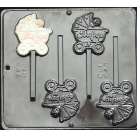 646 Baby in Carriage Lollipop Chocolate - Baby Shower Lollipop Molds