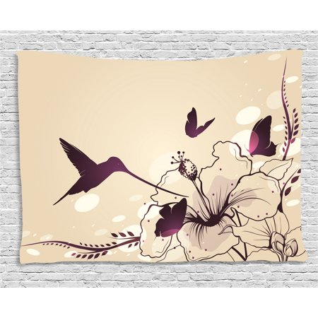 Birds Tapestry, Flapping Tiny Hummingbird Interacting with Giant Flowers and Butterflies, Wall Hanging for Bedroom Living Room Dorm Decor, 80W X 60L Inches, Pale Peach and Purple, by Ambesonne