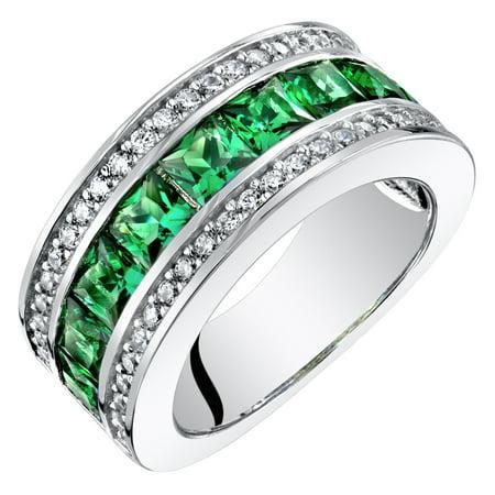 Sterling Silver Princess Cut Simulated Emerald 3-Row Wedding Ring Band 1.5 Cts