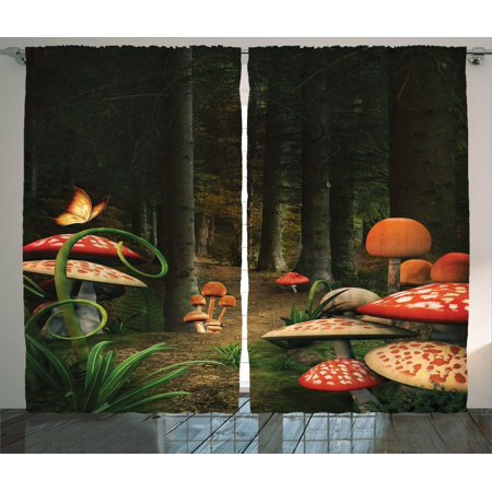 Mushroom Decor Curtains 2 Panels Set, Mushrooms In The Deep Dark Forest Fantasy Nature Theme Earth Path Mystical Image, Living Room Bedroom Accessories, By