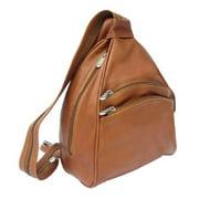 2 Front Zip-Pockets Leather Sling Bag w Phone Pocket in Saddle