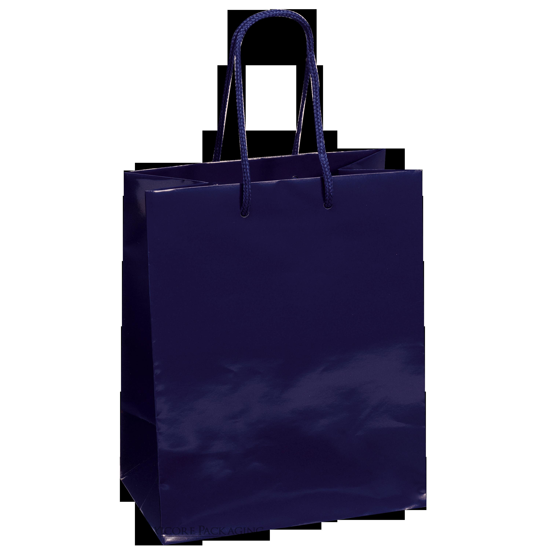 """Navy Blue Gloss Paper Bag, 8""""x4""""x10"""", 25ct"""