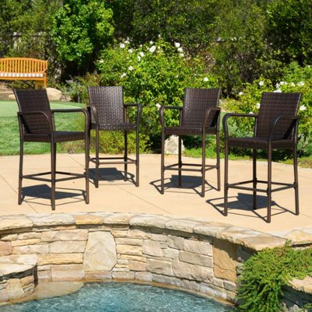 Christopher Knight Home Delfina Outdoor Wicker Barstool Set Of 4 By