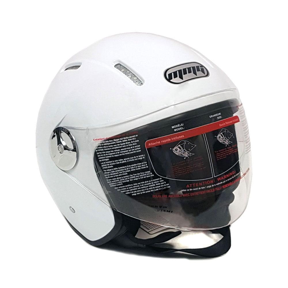 Motorcycle Scooter Open Face Helmet PILOT Flip Up Visor DOT - WHITE GLOSSY FINISH - S