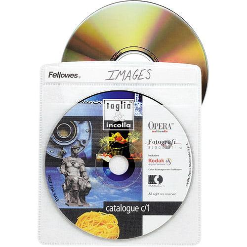 Fellowes Vinyl CD/DVD Sleeves, 50-Pack