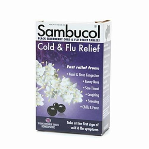 Sambucol Cold & Flu Relief Tablets 30 ea (Pack of 6)