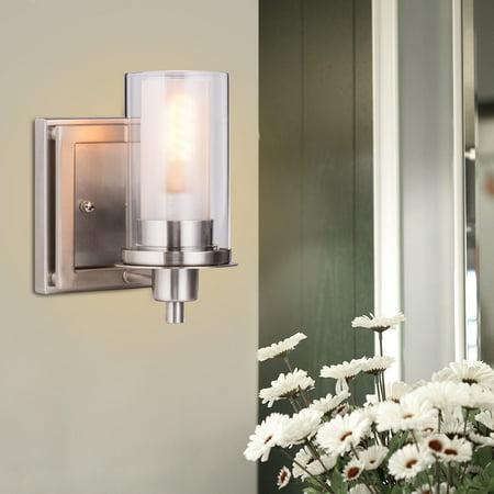 Costway Vanity Light Wall Mounted One Bathroom Fixture Brushed Nickel Bulb