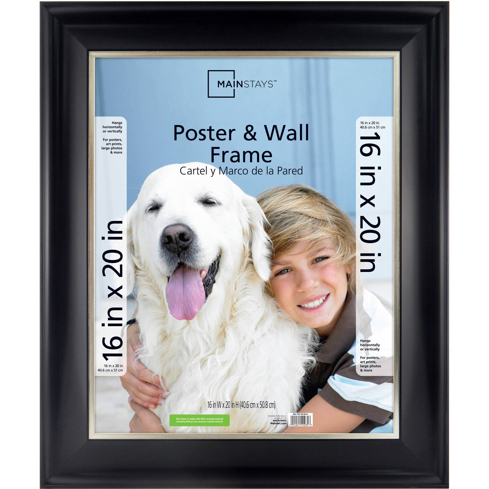 Mainstays 16x20 2-Tone Poster Frame, Black with Champagne - Walmart.com