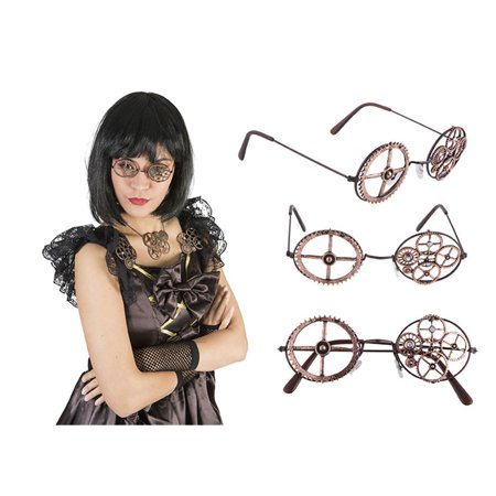 Asian Eye Glasses Costume (Bronze Brooch Gears Gear Glasses Eye Wear Steampunk Victorian Costume)