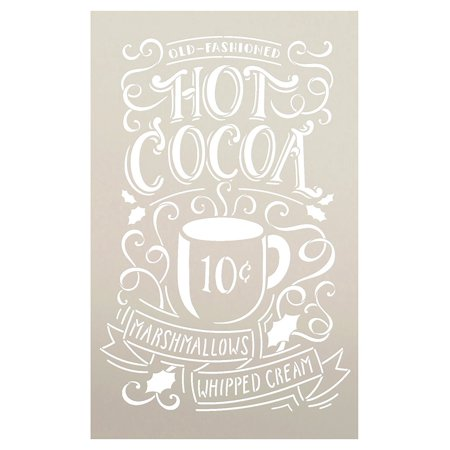 Hot Cocoa Stencil by StudioR12 | Reusable Mylar Template |Typography, Word Art , Painting, Chalk | Use for Crafting Christmas / Winter Farmhouse style Wood Signs (STCL1384) SELECT SIZE