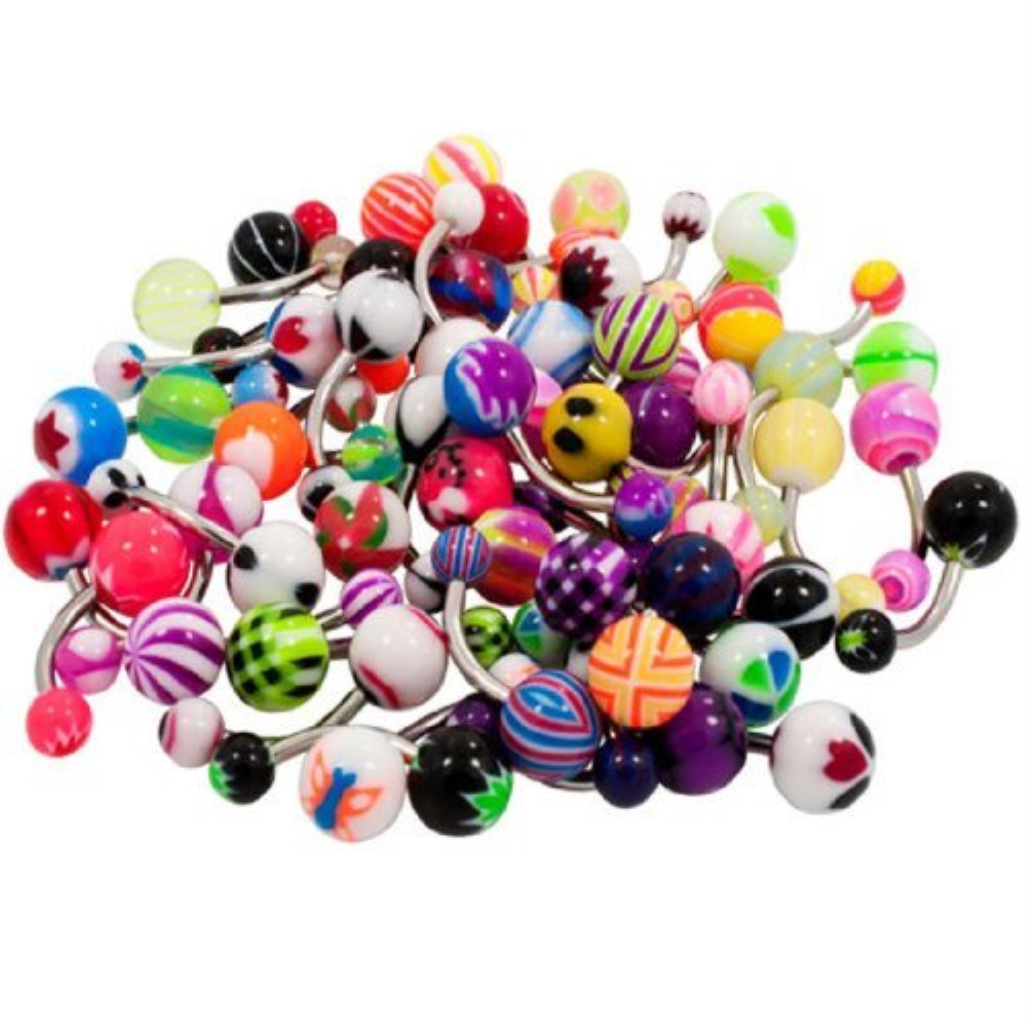 BodyJ4You® Belly Button Navel Rings Wholesale Lot of 50pcs Piercing Jewelry 14G