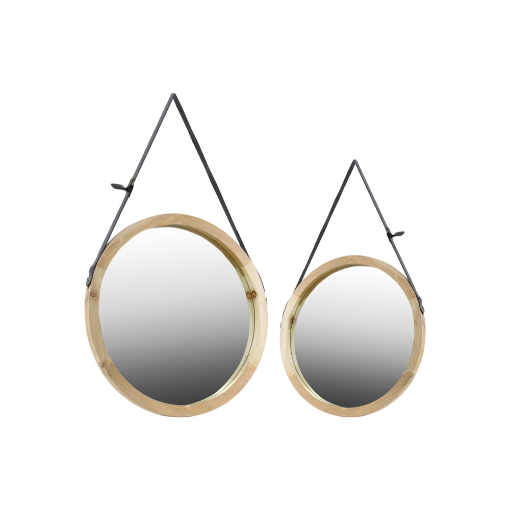 Freshness Round Mirrors with Belt Hanger Set of 2 Brown-Benzara by Benzara