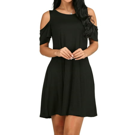 - 5 Color LMart Women Solid Color Cold Shoulder Above The Knee Slim Fit Party Dress