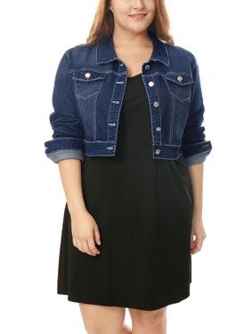 Women's Plus Size Button Closed Cropped Denim Jackets