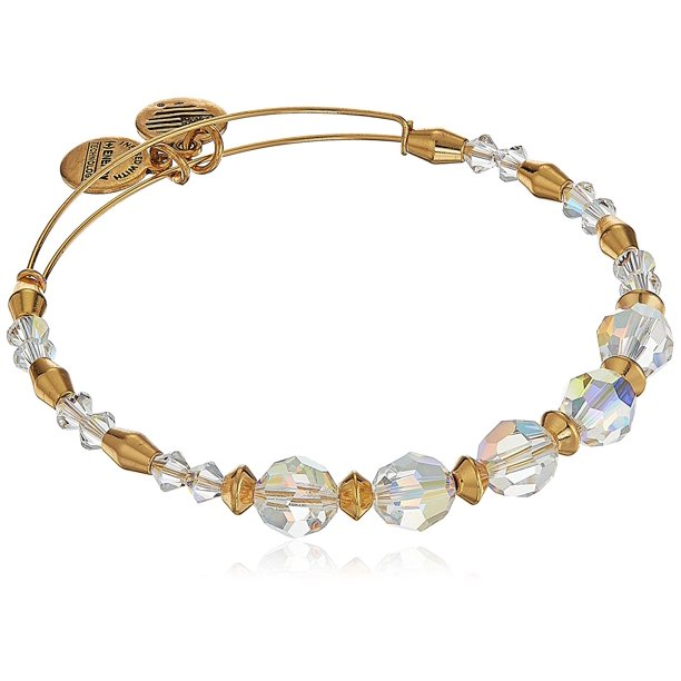 Swarovski Crystal Beaded, Frost Bangle Bracelet- Shiny Gold