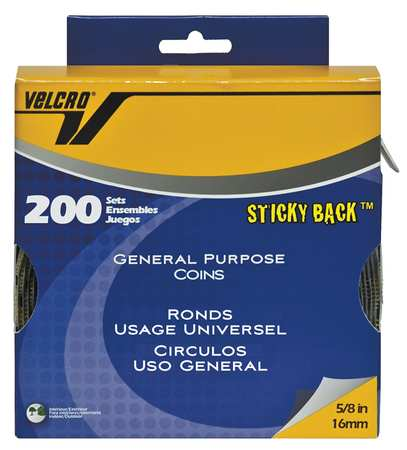 """VELCRO BRAND 3/4"""" Dia. Hook-and-Loop Beige Sticky-Back Coins Dots, 200 pk., 90140"""