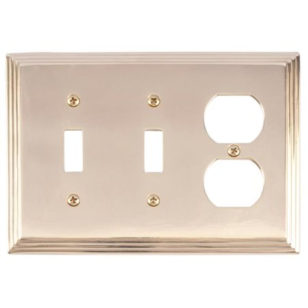 BRASS Accents M02-S2580-605 Classic Steps Two Switch & One Outlet Triple Combo Polished Brass Switchplates