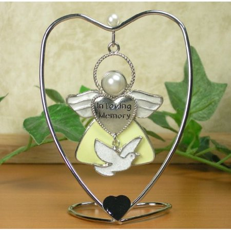In Loving Memory Hanging Ornament Angel with Dove Charm and Heart Stand