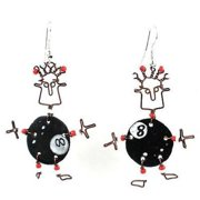 Creative Alternatives Dancing Girl Eight Ball Earrings