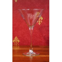 Wake Forest Demon Deacons Deep Etched Martini Glass