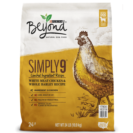 Purina Beyond Limited Ingredient, Natural Dry Dog Food, Simply 9 White Meat Chicken & Barley Recipe - 24 lb. Bag (Bravo Dog Food)