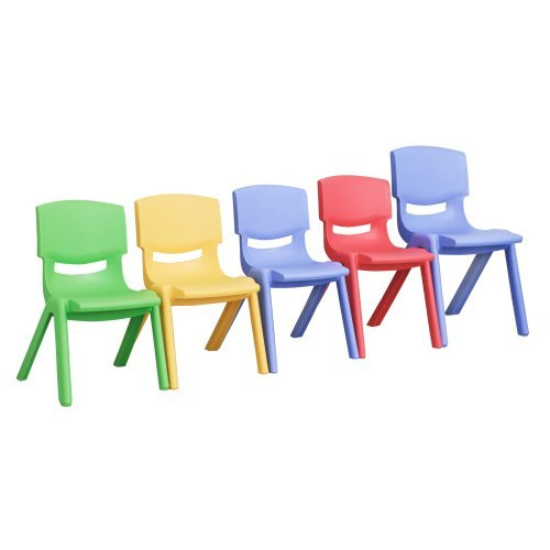 """ECR4Kids Preschool Kids 12"""" Resin School Stack Chair Blue, 6 Pack"""
