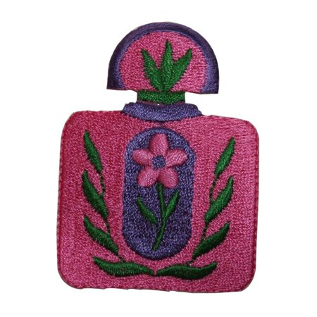 Flower Perfume Bottle - ID 7643 Pink Perfume Flower Bottle Patch Fashion Embroidered Iron On Applique