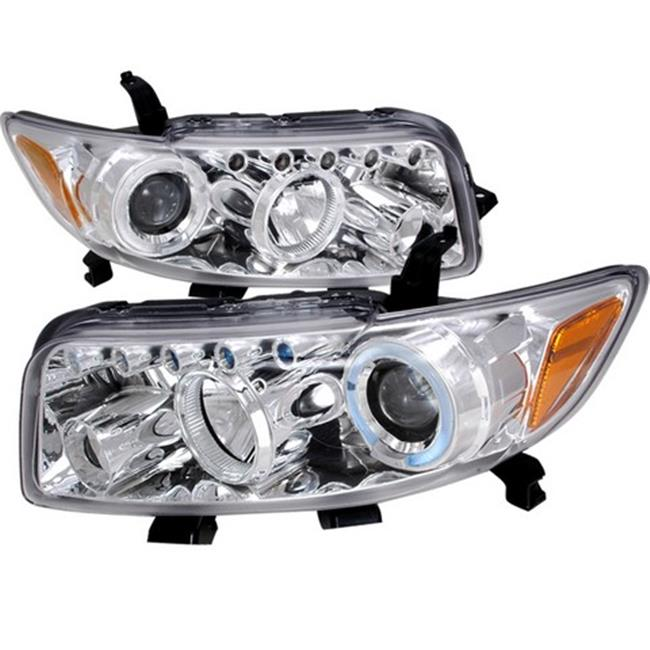 Spec-D Tuning 2LHP-XB08-TM R8 Style Halo LED Projector Headlights for 08 to 10 Scion XB, Chrome - 10 x 20 x 25 in.