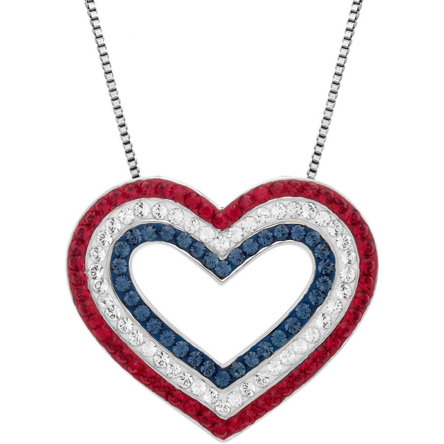 """Luminesse Sterling Silver Patriotic Red, White and Blue Heart Pendant with White Swarovski Elements, 18"""""""
