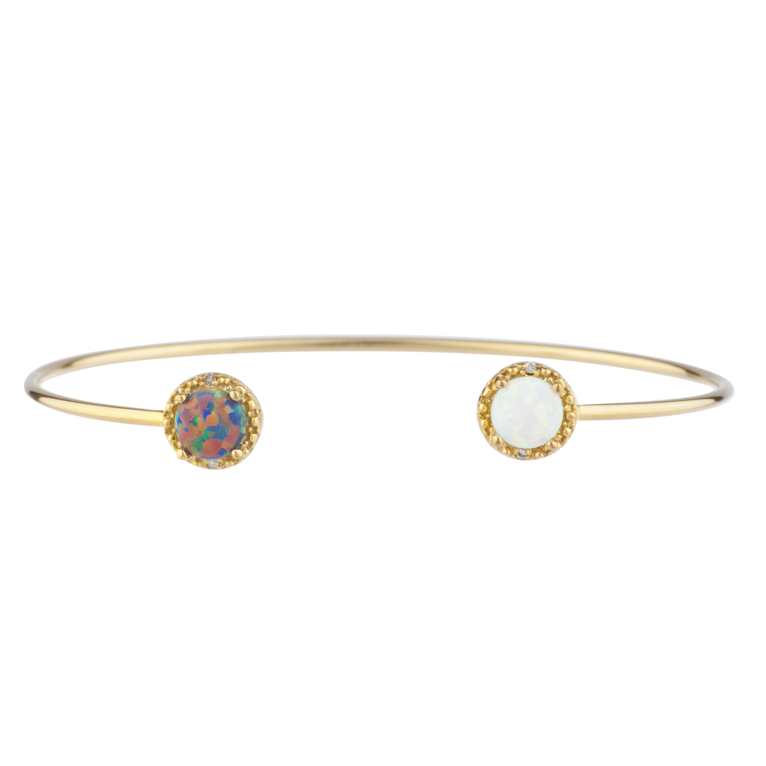Black Opal & White Opal Diamond Bangle Round Bracelet 14Kt Yellow Gold Plated Over .925 Sterling Silver by Elizabeth Jewelry Inc