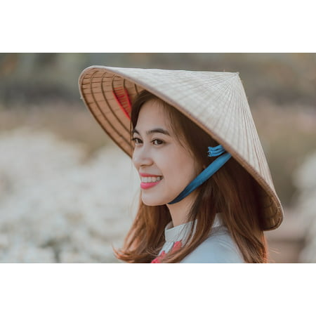 Peel-n-Stick Poster of Asian Vietnamese Chinese Vietnam Conical Hat Girl Poster 24x16 Adhesive Sticker Poster - Conical Hat