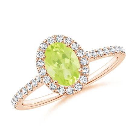 August Birthstone Ring - Oval Peridot Halo Ring with Diamond Accents in 14K Rose Gold (7x5mm Peridot) - SR0955PD-RG-A-7x5-7