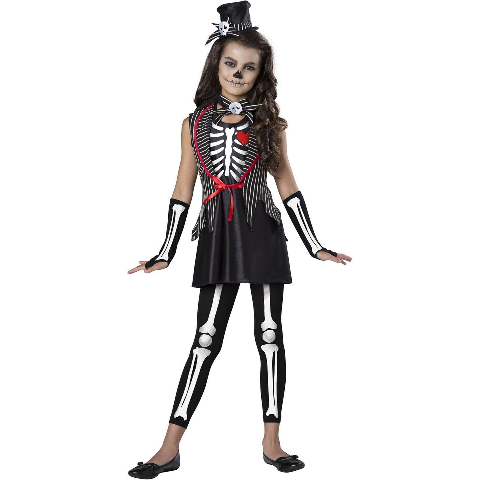 Little Skeleton Girls Ghoul Ballerina Child Halloween Costume