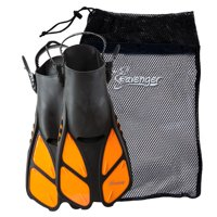 Seavenger Swim Fins / Flippers with Gear Bag for Snorkeling & Diving, Perfect for Travel Orange L/XL