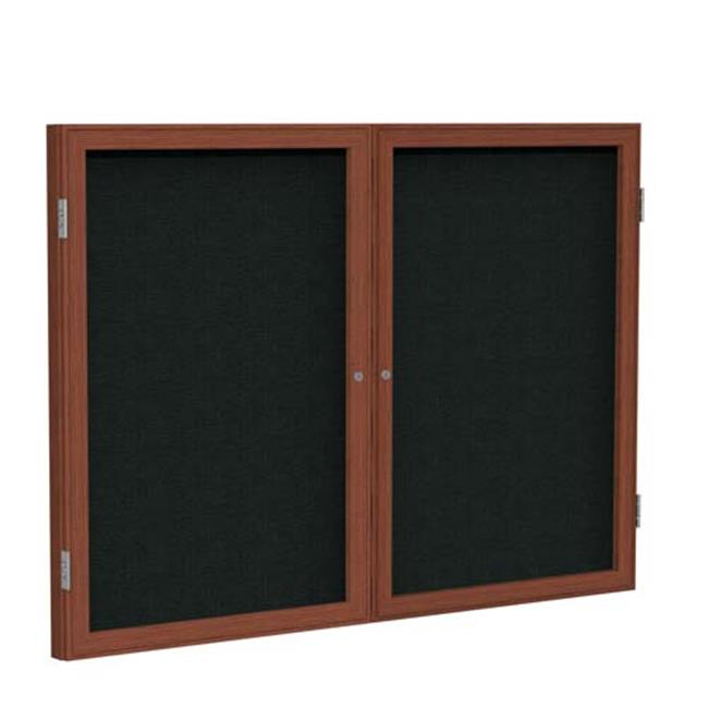 Ghent Manufacturing PWC24860F-93 48 x 60 in. 2-Door Wood Frame Cherry Enclosed Fabric Bulletin Board - Blue