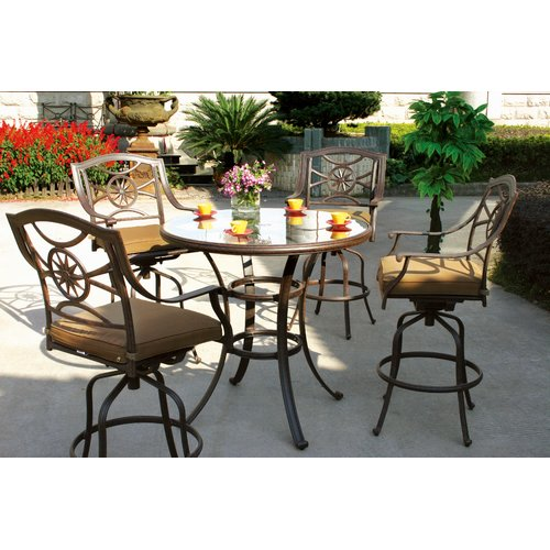 Alcott Hill Thompsontown 5 Piece Bar Height Dining Set with Cushions