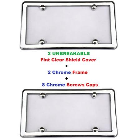 2 UNBREAKABLE FLAT Clear License Plate Shield Cover + 2 CHROME Frame + 8 Chrome Screws Caps Chrome License Plate Screws