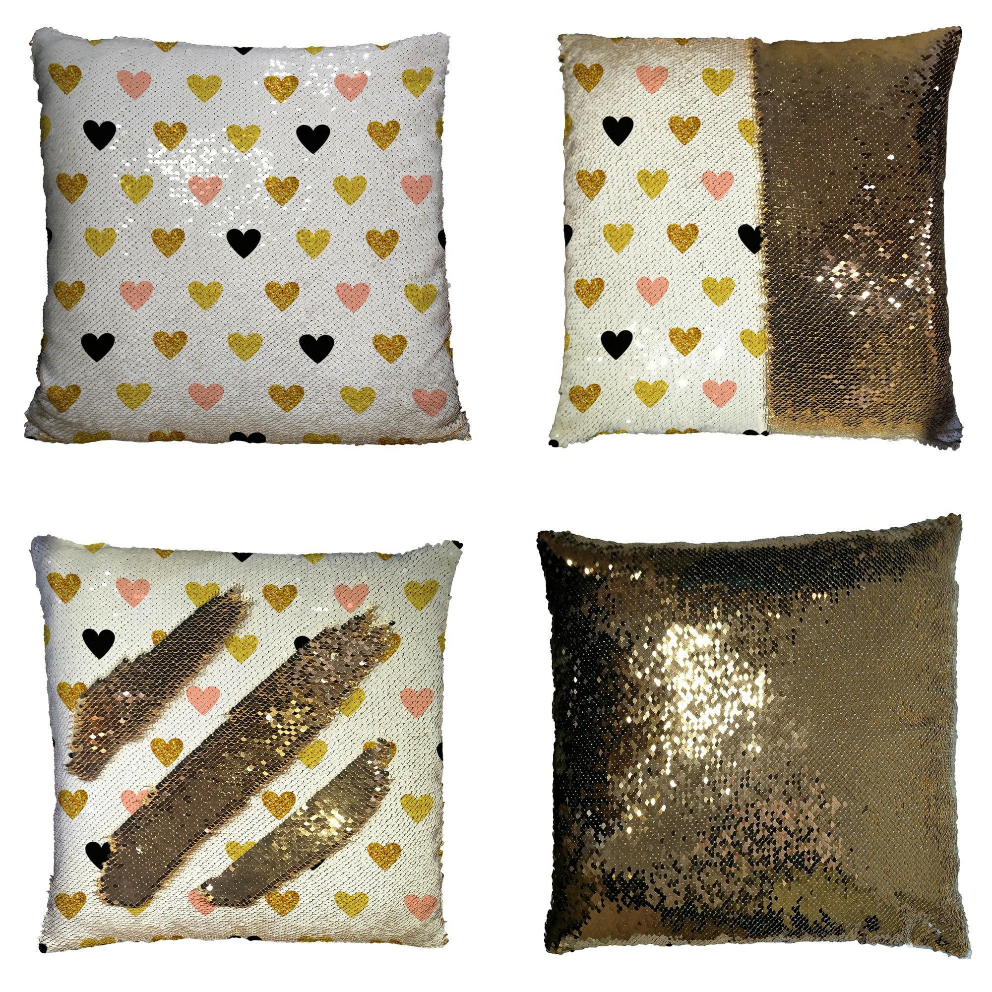 Eczjnt Hearts Rose Gold Black Gold Hearts Sparkles Pillow Case Home Decor Cushion Cover 16x16 Inch Walmart Com Walmart Com