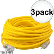 Coleman Cable 01689 100' 12/3 SJEOW Polar/Solar Extension Cord 3-Pack