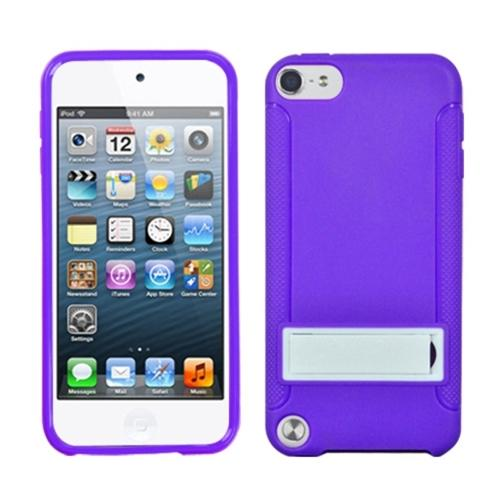 Insten Solid White/Solid Purple (With Stand) Gummy Cover Case for iPod touch (5 5G 5th 6 6G 6th Gen)