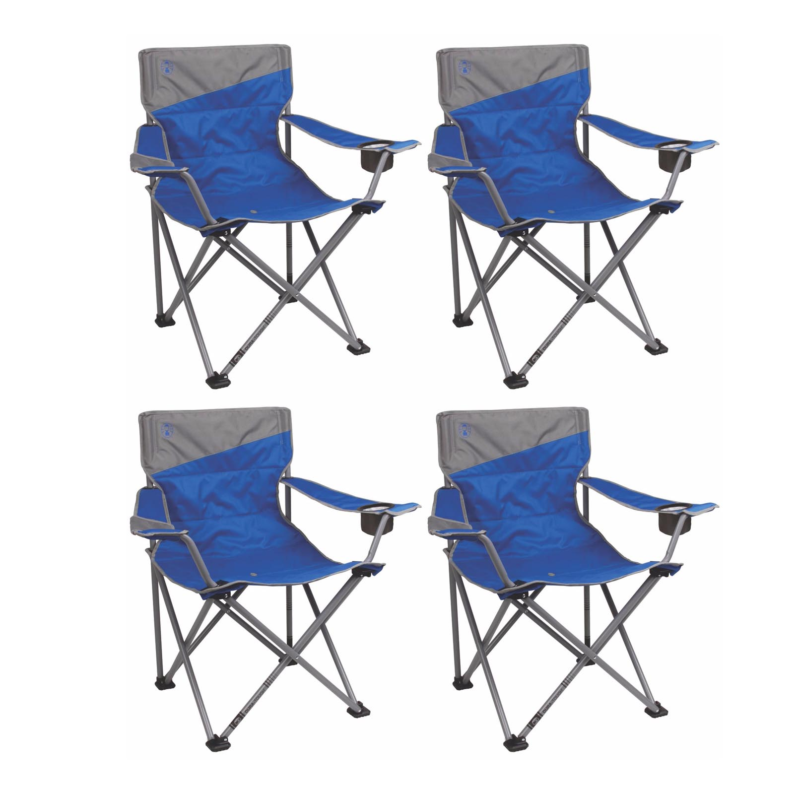 4) Coleman Camping Outdoor Beach Folding Big-N-Tall Oversized Quad Chairs, Blue