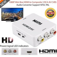 Mini 1080P Composite AV CVBS Adapter Converter HDMI to RCA Audio Video - Black