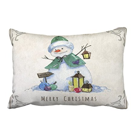 Watercolor Snowman - WinHome Cute Watercolor Snowman Christmas Holiday Polyester 20 x 30 Inch Rectangle Throw Pillow Covers With Hidden Zipper Home Sofa Cushion Decorative Pillowcases