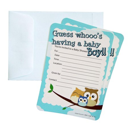 Baby Shower Invitations, 12-Piece, 7-Inches, Owl Baby Boy, Light Blue - Owl Boy Baby Shower