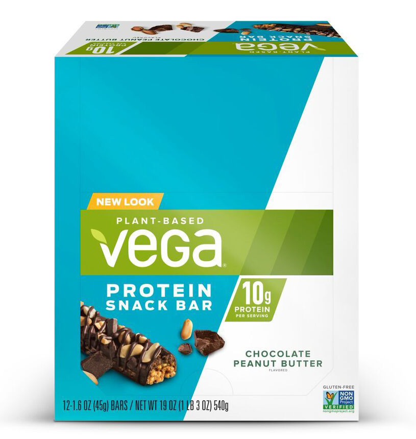 Vega Plant Protein Snack Bar, Chocolate Peanut Butter, 10g Protein, 12 Ct