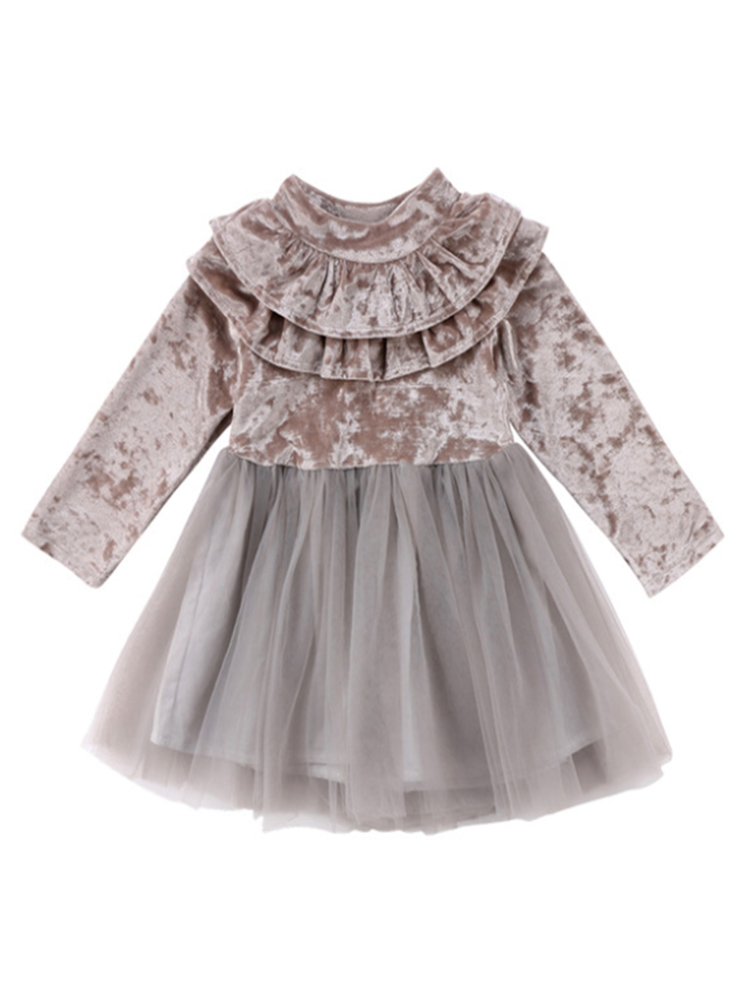 stylesilove Little Girls Long Sleeve Ruffle Trim Velvet Tutu Dress (120/3-4 Years, Burgundy)