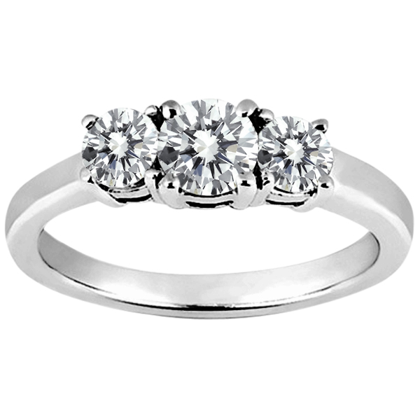 0.74 Ct Round H/I Diamond G/H Diamond 14K White Gold Ring
