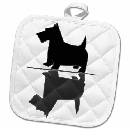 3dRose Funny Cute Artsy Scottish Terrier Dog and his Reflection Image - Pot Holder, 8 by 8-inch