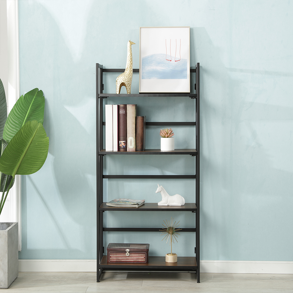 Langria 4-Tier Metal and Wood Industrial Bookshelf